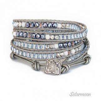 srebrna bransoletka owijana