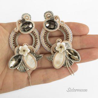 srebrne kolczyki ślubne sutasz