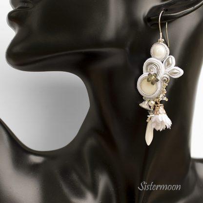 białe kolczyki ślubne sutasz Sistermoon